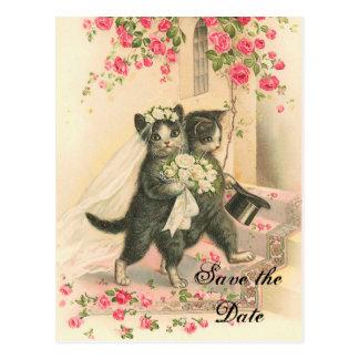 Reserva del boda del gatito del Victorian la fecha Tarjeta Postal
