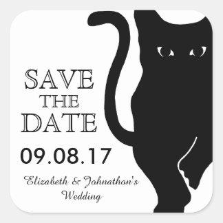 Reserva del boda del gato negro la fecha pegatina cuadrada