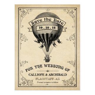 Reserva del boda del globo del aire caliente del postal