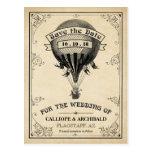 Reserva del boda del globo del aire caliente del v tarjetas postales