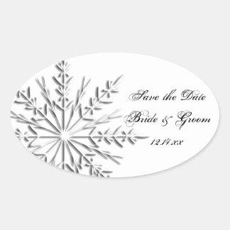 Reserva del boda del invierno del copo de nieve la calcomanía ovalada