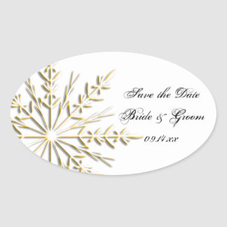 Reserva del boda del invierno del copo de nieve pegatina óval