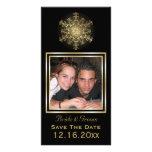 Reserva del boda del invierno del negro del copo d tarjeta fotográfica personalizada