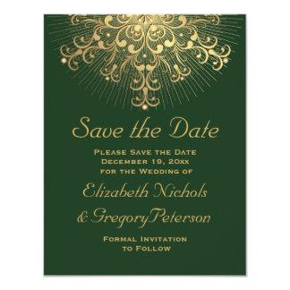 """Reserva del boda del invierno del verde del copo invitación 4.25"""" x 5.5"""""""