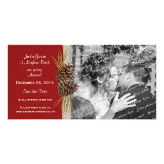 Reserva del boda del invierno la foto de la fecha tarjeta personal con foto
