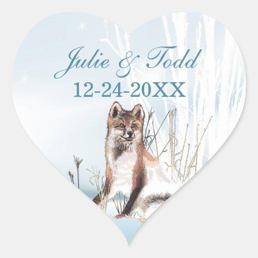 Reserva del boda del lobo del invierno la fecha pegatina en forma de corazón