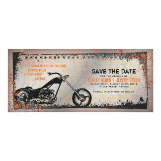 """Reserva del boda del motorista o de la motocicleta invitación 4"""" x 9.25"""""""