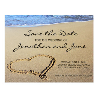 Reserva del boda del océano de la playa la fecha tarjeta postal