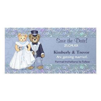 Reserva del boda del oso de peluche la fecha tarjeta personal con foto