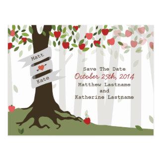 Reserva del boda del otoño de la caída del manzana tarjeta postal