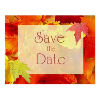 Reserva del boda del otoño la fecha, hojas del postal