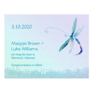 Reserva del boda del país de la libélula las posta postales