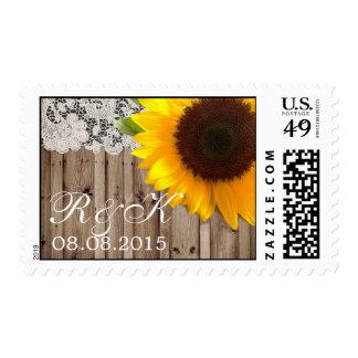 reserva del boda del país del girasol del cordón sellos postales