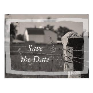 Reserva del boda del país la invitación de la fech postales
