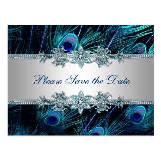 Reserva del boda del pavo real de la plata del tarjeta postal