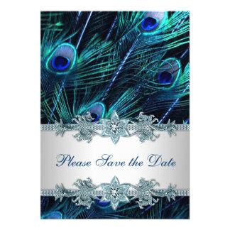 Reserva del boda del pavo real del azul real la fe invitación