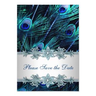 Reserva del boda del pavo real del azul real la invitación