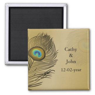 reserva del boda del pavo real del oro la fecha imán cuadrado