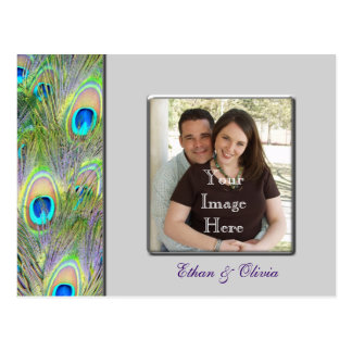 Reserva del boda del pavo real la fecha tarjetas postales