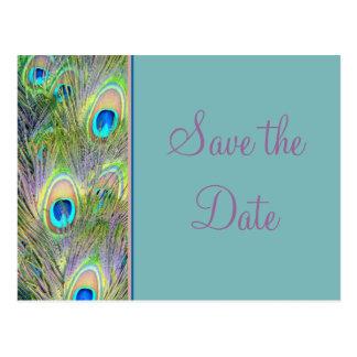 Reserva del boda del pavo real la fecha tarjeta postal