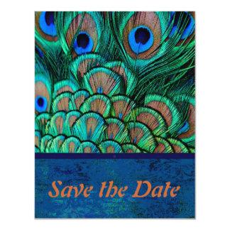"""Reserva del boda del pavo real la tarjeta de fecha invitación 4.25"""" x 5.5"""""""