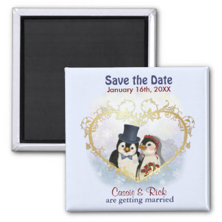 Reserva del boda del pingüino la fecha imán cuadrado