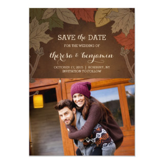 """Reserva del boda del placer del otoño la tarjeta invitación 5"""" x 7"""""""