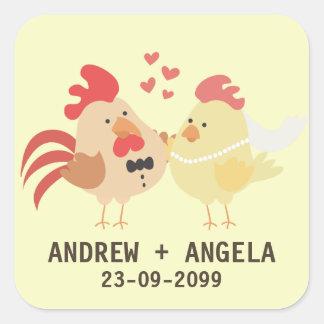 Reserva del boda del pollo de la granja el pegatina cuadradas