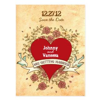Reserva del boda del rock-and-roll rosas la fech tarjetas postales