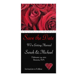 Reserva del boda del rosa rojo la tarjeta de fecha tarjetas fotograficas personalizadas