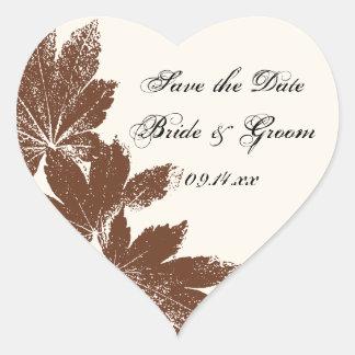 Reserva del boda del sello de la hoja los sellos pegatina en forma de corazón