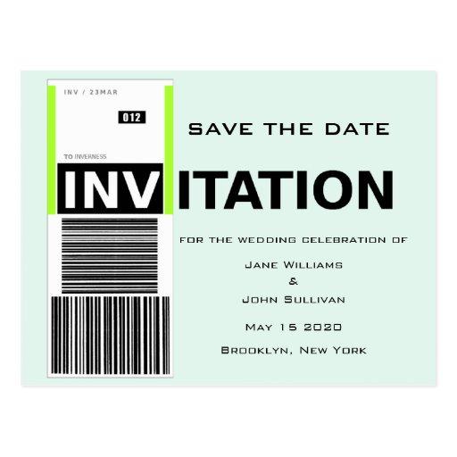 Reserva del boda del tema de la demanda de equipaj tarjetas postales