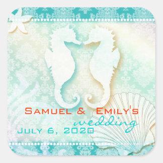 Reserva del boda del verano del caballo de mar del calcomanías cuadradas personalizadas