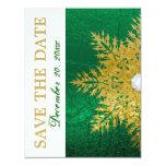 Reserva del boda del verde esmeralda del oro del invitación 10,8 x 13,9 cm