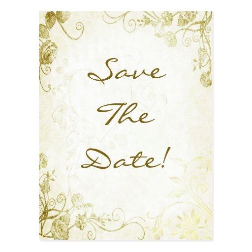 Reserva del boda del vintage del oro la postal de