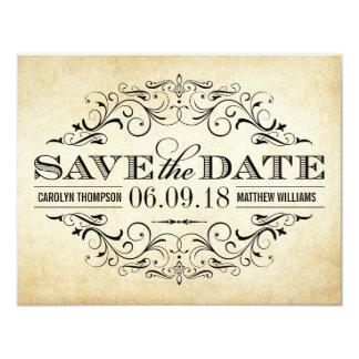 """Reserva del boda del vintage el Flourish elegante Invitación 4.25"""" X 5.5"""""""