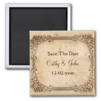 reserva del boda del vintage el imán de la fecha