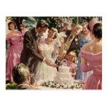 Reserva del boda del vintage el recién casado del postal