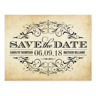 Reserva del boda del vintage el remolino y el postal