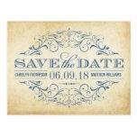 Reserva del boda del vintage el remolino y el tarjetas postales