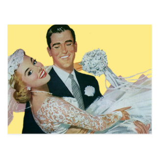 ¡Reserva del boda del vintage la fecha! Novia y Tarjeta Postal