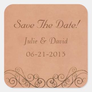 Reserva del boda del vintage la fecha pegatina cuadrada