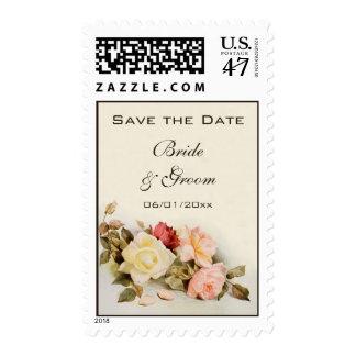 Reserva del boda del vintage la fecha, rosas del sellos postales