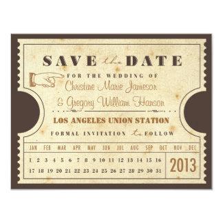 Reserva del boleto de la tarjeta de sacador del invitación 10,8 x 13,9 cm