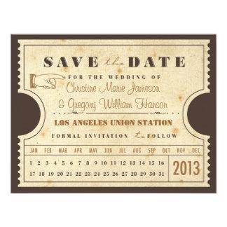 Reserva del boleto de la tarjeta de sacador del vi invitación personalizada