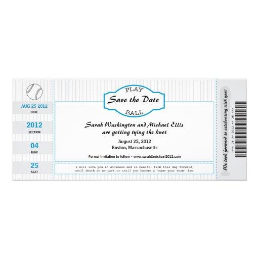 Reserva del boleto del béisbol la fecha comunicado personalizado