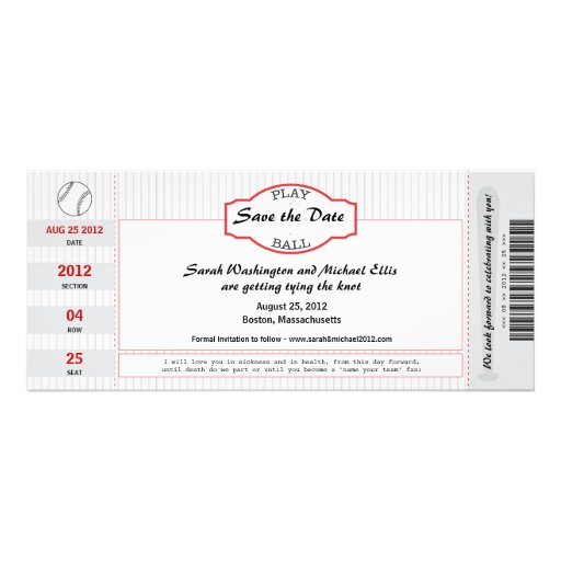 Reserva del boleto del béisbol la fecha invitaciones personales