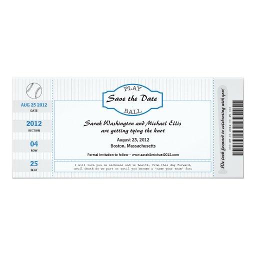 Reserva del boleto del béisbol la fecha invitación 10,1 x 23,5 cm