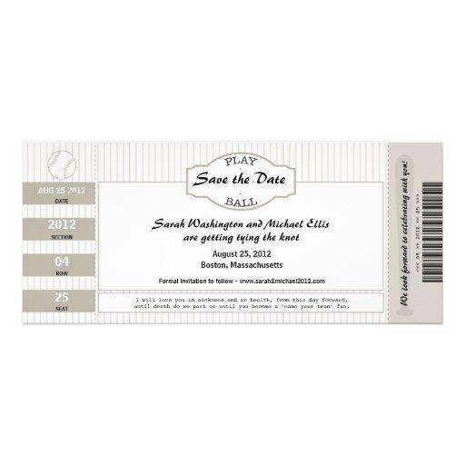 Reserva del boleto del béisbol la fecha invitación personalizada