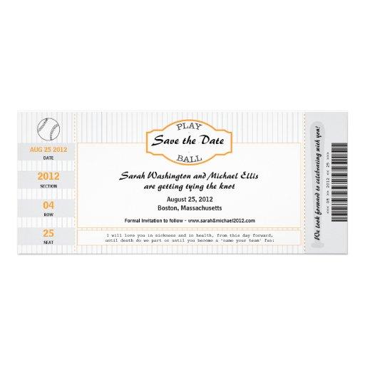 Reserva del boleto del béisbol la fecha invitacion personalizada